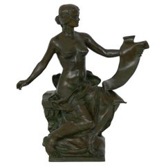 """""""Allegory of History"""" French Bronze Sculpture by Georges Bareau and Barbedienne"""