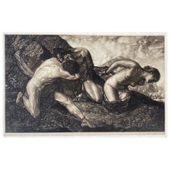 """Allegory of Life,"" Art Deco Mezzotint with Nude Figures by Peter"