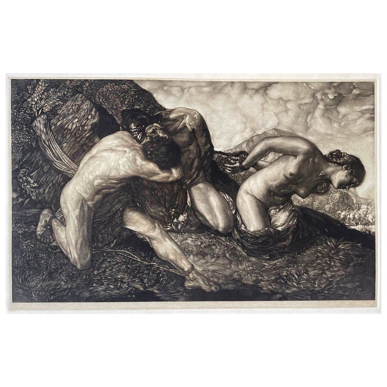 """""""Allegory of Life,"""" Art Deco Mezzotint with Nude Figures by Peter For Sale"""