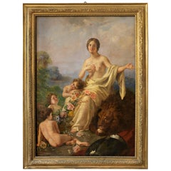 Allegory of Peace Painting Oil on Canvas Signed by Erulo Eroli