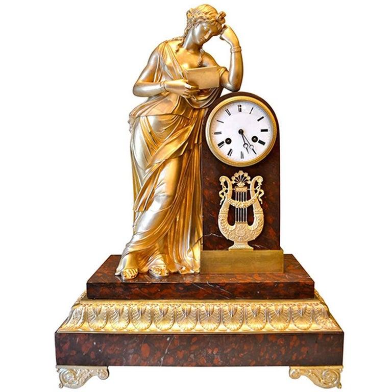 Allegory to Clio French Empire Clock