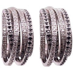 Allegra de Grisogono Style White and Colored Enhanced Black Diamond Earrings