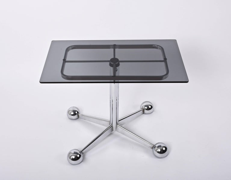 Magnificent adjustable bar trolley table produced by Allegri Arredamenti in Parma, Italy, during the 1970s.