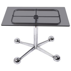 Allegri Arredamenti Chrome Glass Adjustable Italian Bar Trolley Table, 1970s