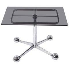 Allegri Arredamenti Chrome Glass Adjustable Italian Bar Trolley Table, 1970s