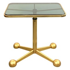 Allegri Midcentury Gold-Plated Italian Adjustable Trolley Serving Table, 1970s