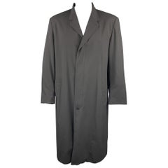 ALLEGRI Size L Black Wool / Rubber Notch Lapel Coat