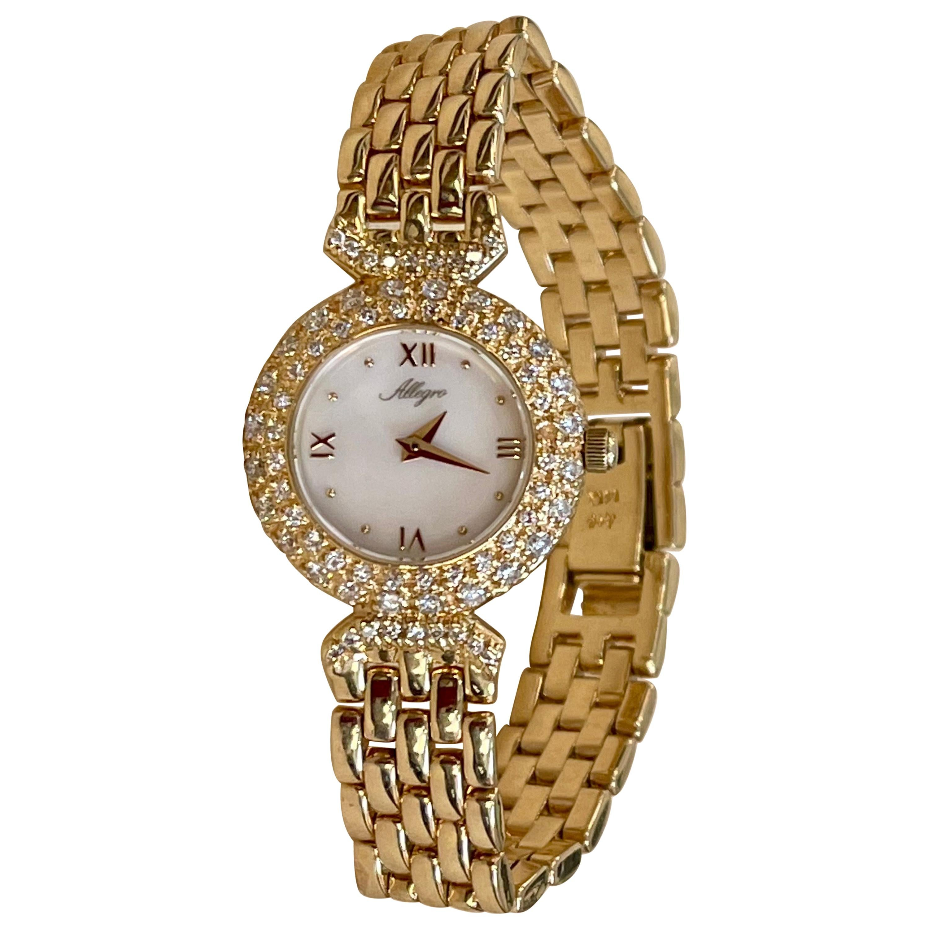 Allegro 14 Karat Yellow Gold Mother of Pearl And Diamond Watch 43 Grams