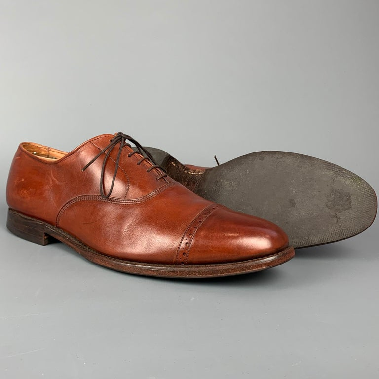 ALLEN EDMONDS Byron Size 15 Brown Leather Cap Toe Lace Up Shoes In Good Condition For Sale In San Francisco, CA