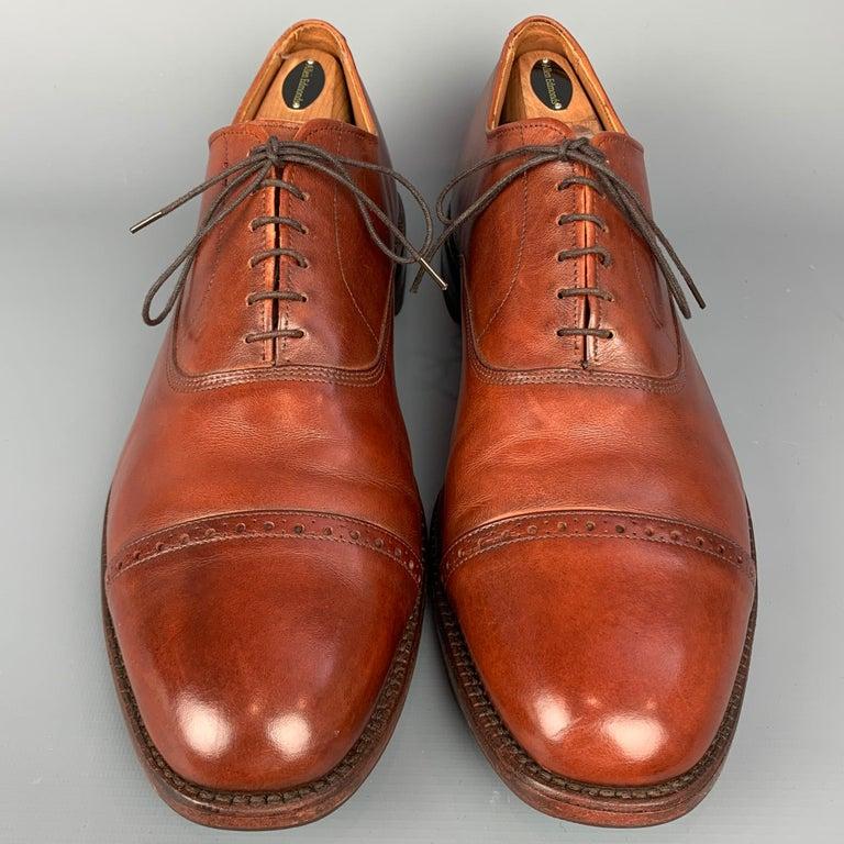 Men's ALLEN EDMONDS Byron Size 15 Brown Leather Cap Toe Lace Up Shoes For Sale