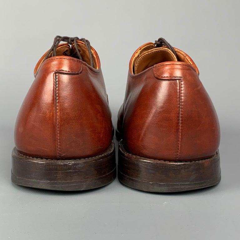 ALLEN EDMONDS Byron Size 15 Brown Leather Cap Toe Lace Up Shoes For Sale 1