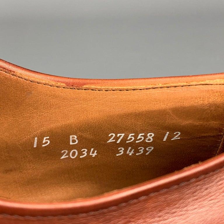 ALLEN EDMONDS Byron Size 15 Brown Leather Cap Toe Lace Up Shoes For Sale 2