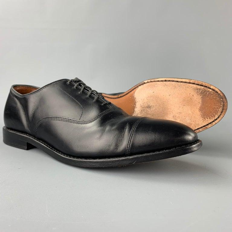 ALLEN EDMONDS Park Avenue Size 11.5 Black Leather Cap Toe Lace Up Shoes In Good Condition In San Francisco, CA