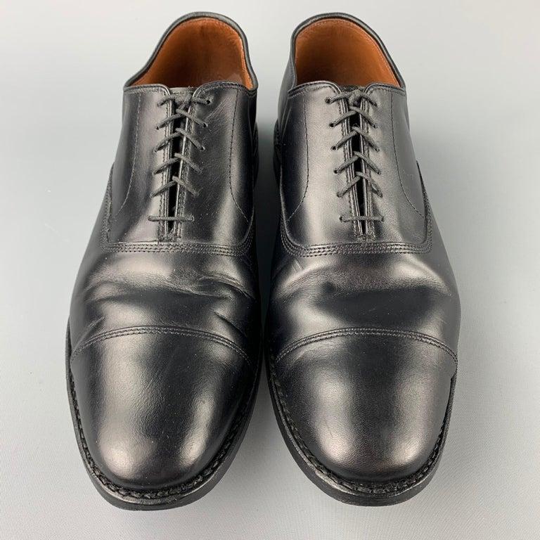 Men's ALLEN EDMONDS Park Avenue Size 11.5 Black Leather Cap Toe Lace Up Shoes
