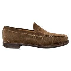 ALLEN EDMONDS Size 11 Brown Contrast Stitch Slip On Penny DOVER Loafers