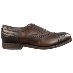 ALLEN EDMONDS Size 7 Brown Leather Perforated Cap Toe Lace Up