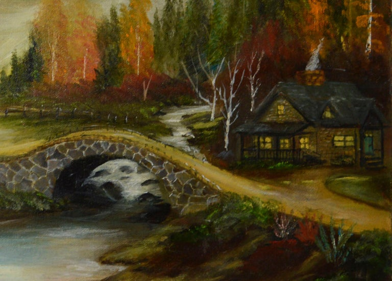 Quaint Cabin by the River - Painting by Allen Jones