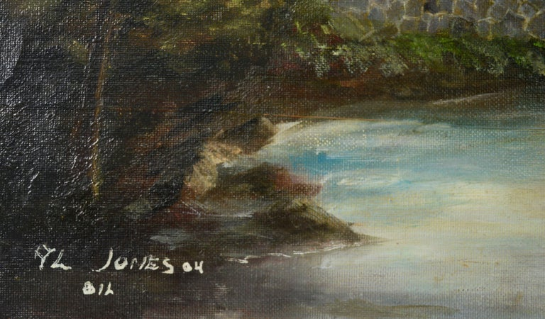 Quaint Cabin by the River - Brown Landscape Painting by Allen Jones