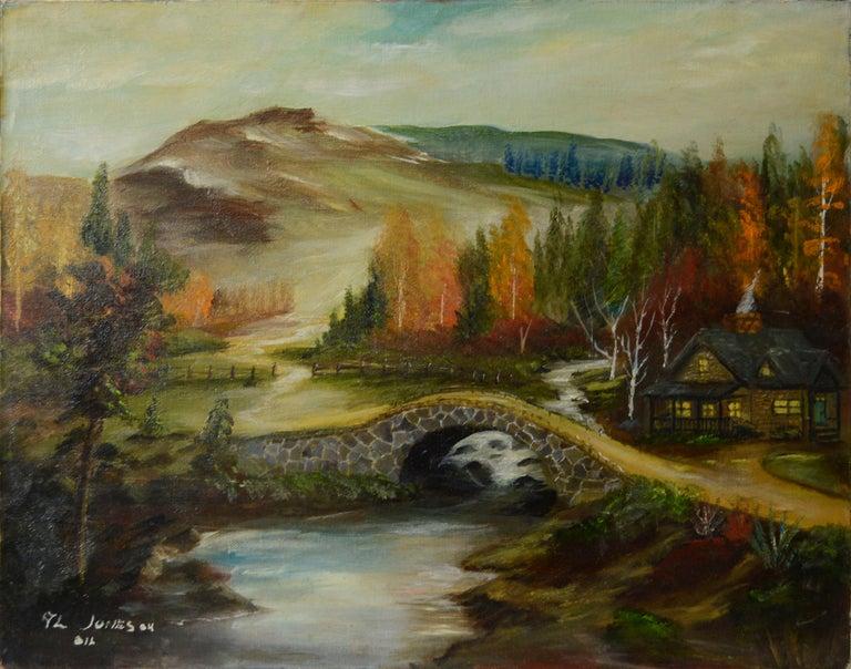 Allen Jones Landscape Painting - Quaint Cabin by the River