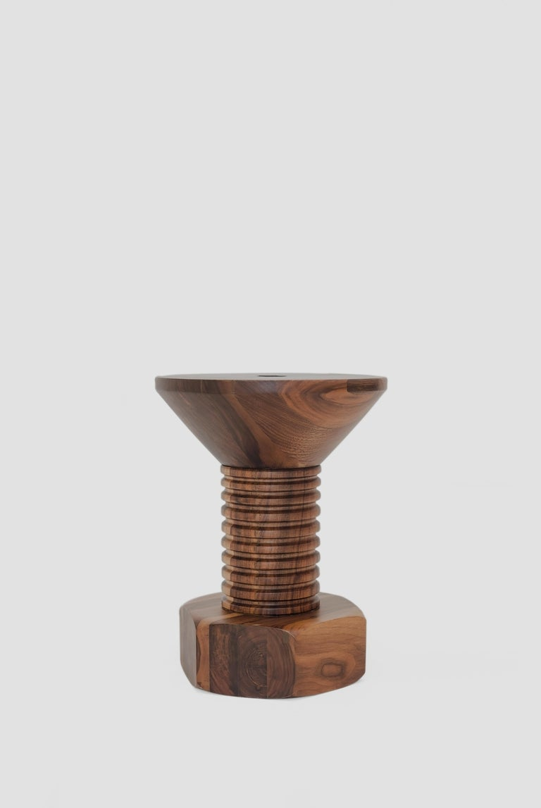 Allen is a walnut wood stool or side table designed by Arturo Verástegui for BREUER ESTUDIO. This piece is part of Diseño y Ebanistería, BREUER ESTUDIO first ever collection, in which they collaborated with top designers to achieve exceptional