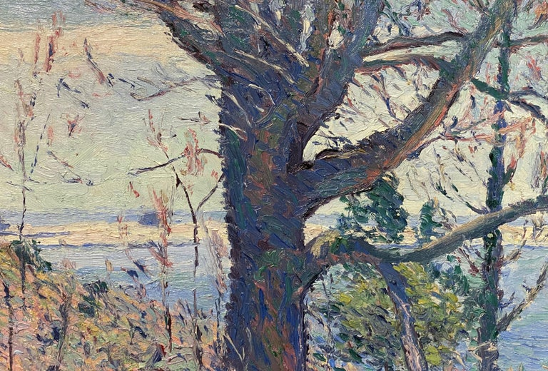 A wonderful impressionist landscape of a spring hillside, probably in Maine, by American architect and artist Allen Tucker (1855-1939). Tucker was born in Brooklyn NY. He graduated from the School of Mines of Columbia University with a degree in