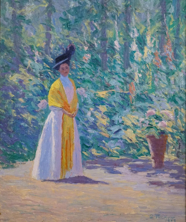 The Yellow Shawl - Impressionist Painting by Allen Tucker