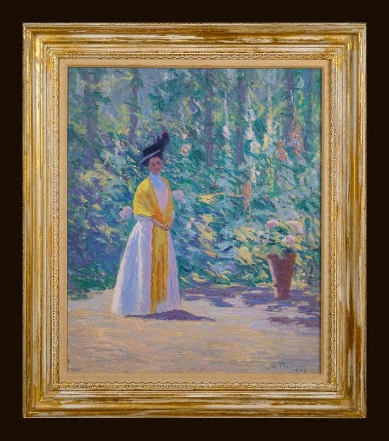Allen Tucker Figurative Painting - The Yellow Shawl