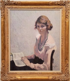 Woman Reading A Book an Oil Painting Portrait signed by Allen Tucker