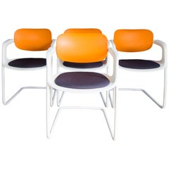 Allermuir Soul Dining Chairs in Orange, Navy and White designed by Pearson Lloyd