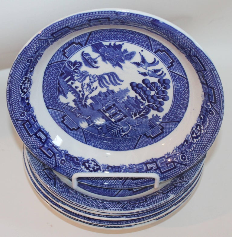Allertons Ltd. English blue willow 19th century blue willow plates in amazing condition. These plates have been stamped by the maker (shown in the photos). This set of six plates is a great collection of glazed blue willow plates are 8.5 inches in