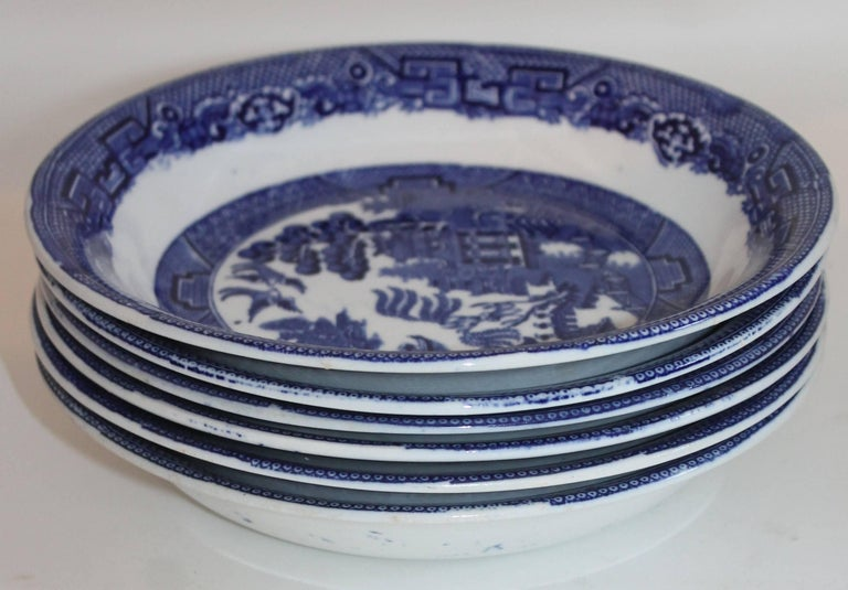 19th Century Allertons English Blue Willow, Set of Six For Sale