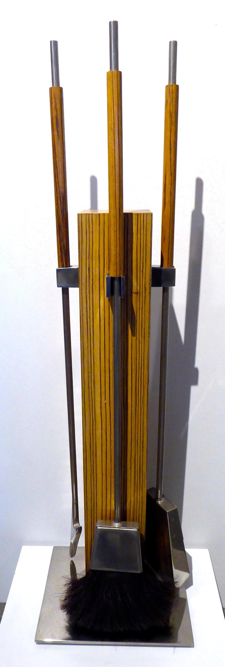 Allesandro Albrizzi Zebra Wood and Steel Fire Tool Set In Good Condition For Sale In Palm Springs, CA