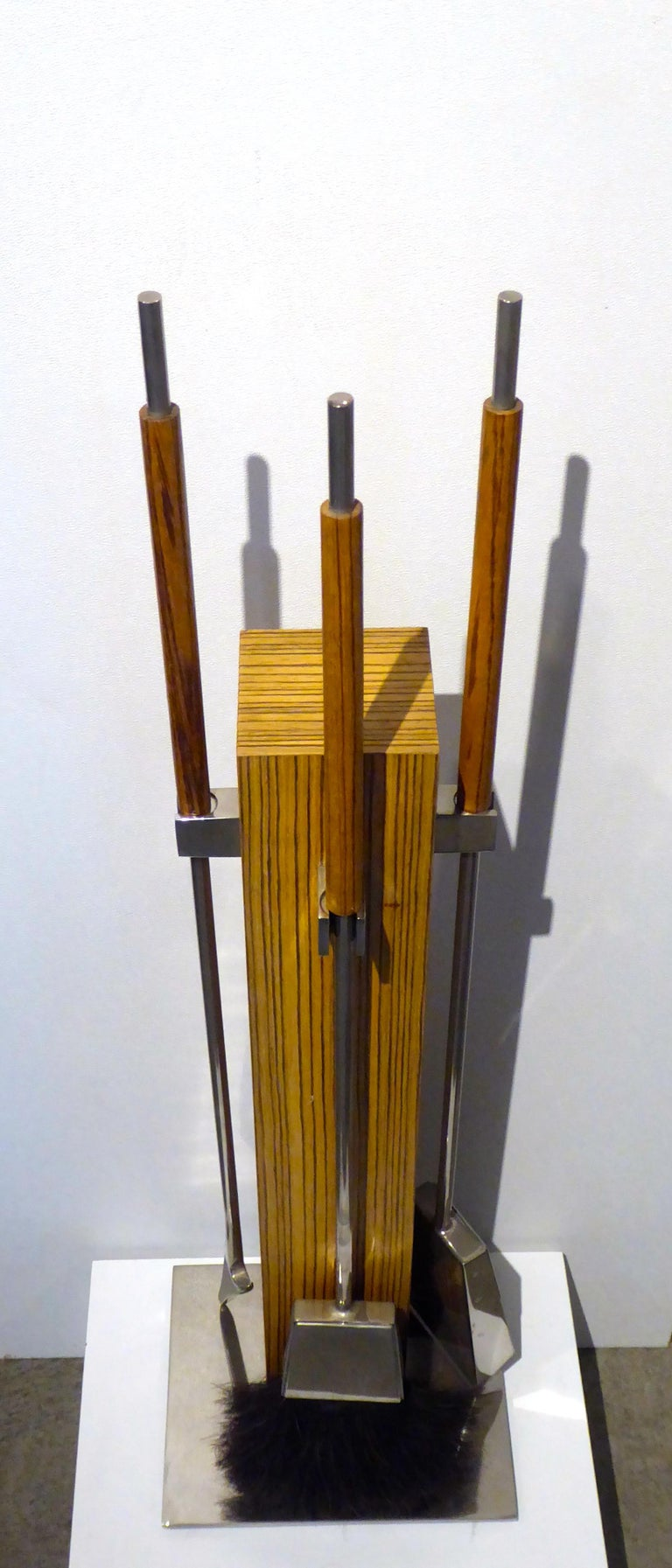 Late 20th Century Allesandro Albrizzi Zebra Wood and Steel Fire Tool Set For Sale