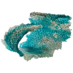 Alliform II, a Unique Glass Sculpture in Clear and Teal by Nina Casson McGarva