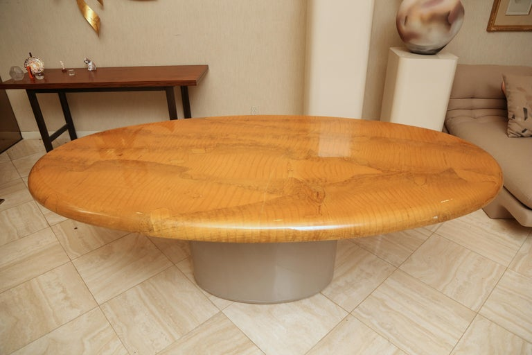 Post-Modern Alligator and Lacquer Oval Dining Table For Sale