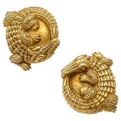 Alligator Clip-On Earrings Set in 18 Karat Yellow Gold, Signed Kieselstein Cord