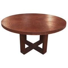 Alligator Embossed All Leather Round Center Table
