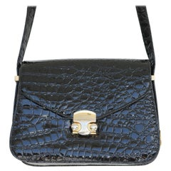 Alligator Leather Gold Shoulder Crossbody Handbag-circa 1980s-Gucci Style
