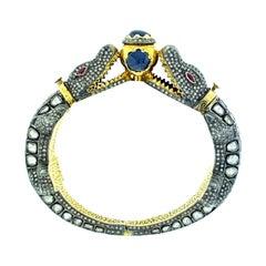 Alligator Polki 13.99 Carat Diamond 9.24 ct Sapphire Bangle in Silver, 14k Gold