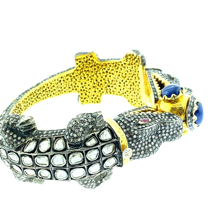 Old Mine Cut Alligator Polki 13.99 Carat Diamond 9.24 ct Sapphire Bangle in Silver, 14k Gold For Sale