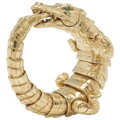 18k Yellow Gold Green Tsavorites Alligator Wrap Statement Ring