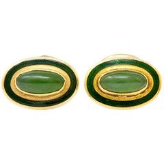 Alling & Co. Art Nouveau Jade 14 Karat Gold Men's Cufflinks