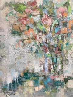 Abstracted Floral by Allison Chambers, Framed Oil on Canvas Still Life