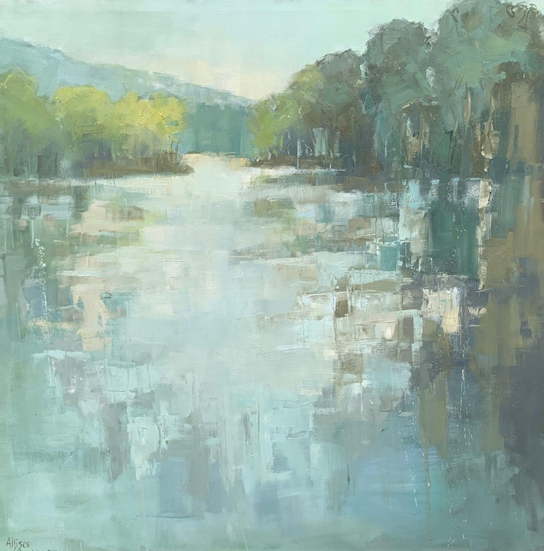 'Be Still' is a large Impressionist oil on canvas painting of square format created by American artist Allison Chambers in 2021. Featuring a palette made of green, blue, cream and brown tones among others, this painting depicts a marsh area occupied