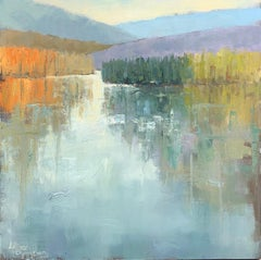 By My Side by Allison Chambers, Impressionist Square Landscape Painting