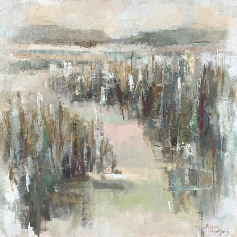 'Celery and Mint' is a large framed Impressionist oil on canvas painting of square format created by American artist Allison Chambers in 2021. Featuring a palette made of green, blue, blush, cream and brown tones among others, this painting depicts