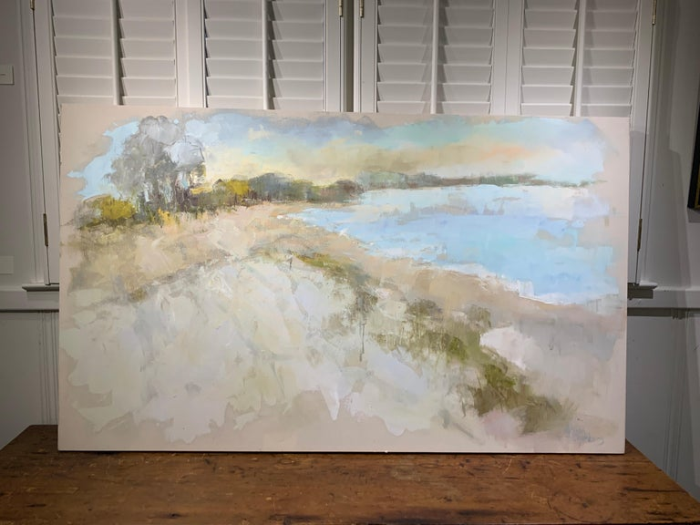 Coastal Vibes by Allison Chambers, Oil on Canvas Impressionist Beach Painting For Sale 6