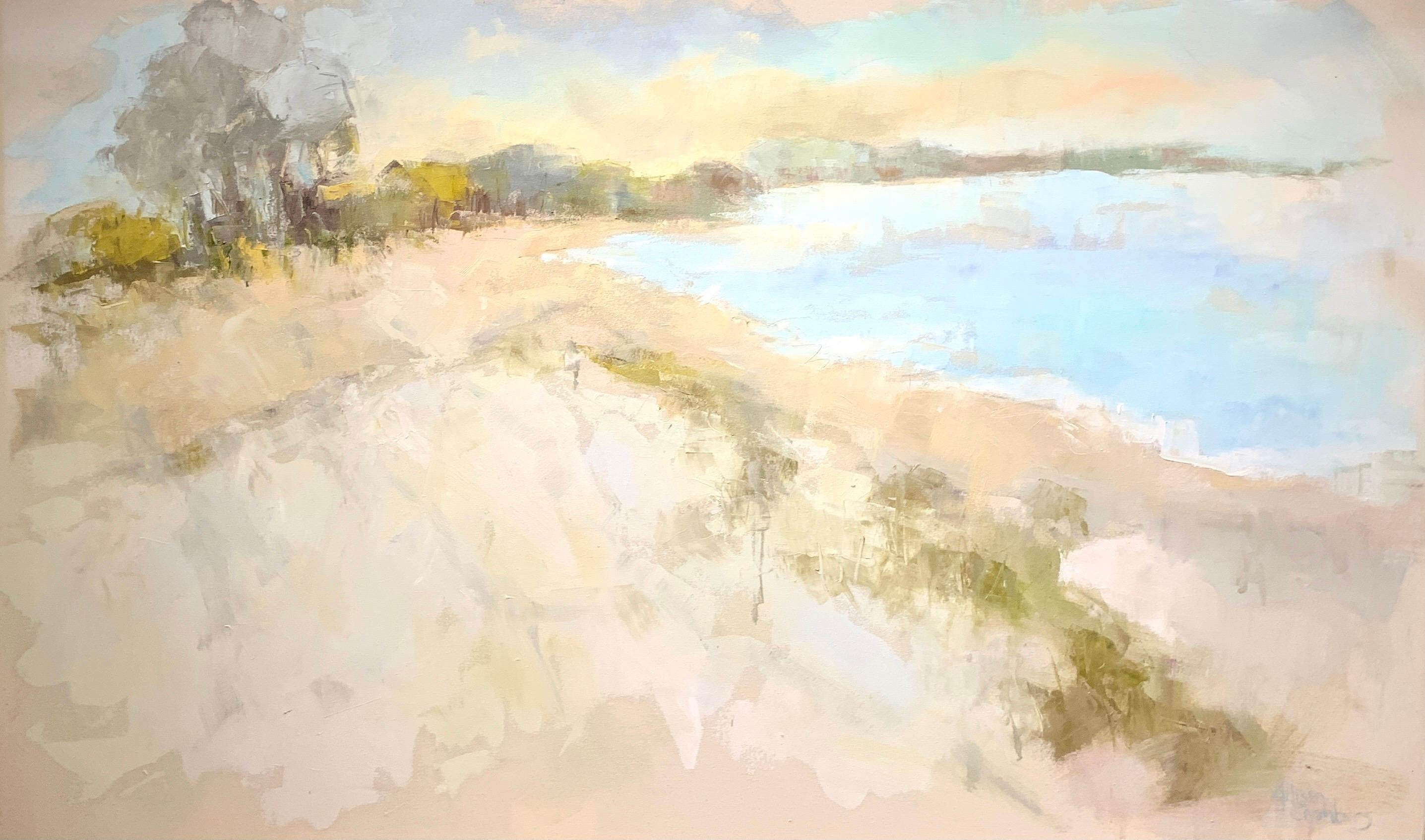 Coastal Vibes by Allison Chambers, Oil on Canvas Impressionist Beach Painting
