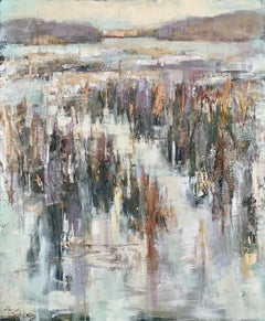 Confetti Marsh by Allison Chambers, Large Framed Impressionist Painting