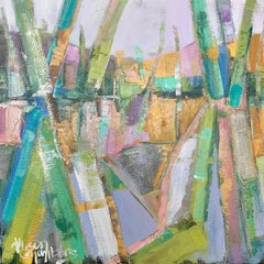Confetti Roots by Allison Chambers, Framed Abstract Oil on Canvas Painting